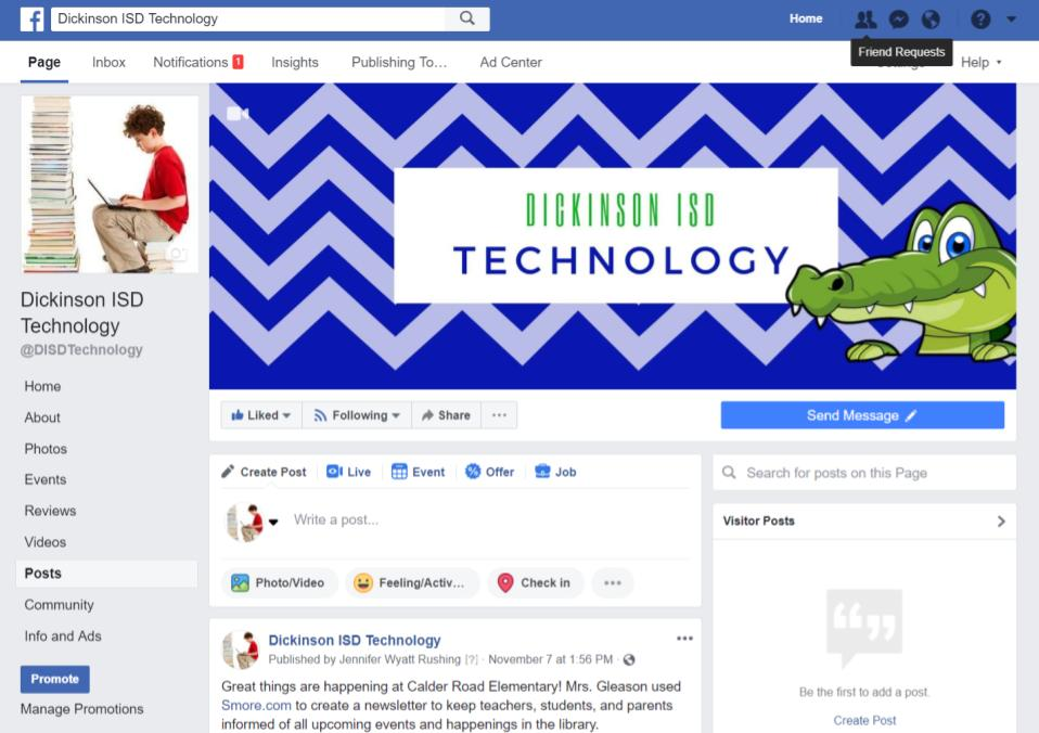 Dickinson ISD Technology Facebook Page