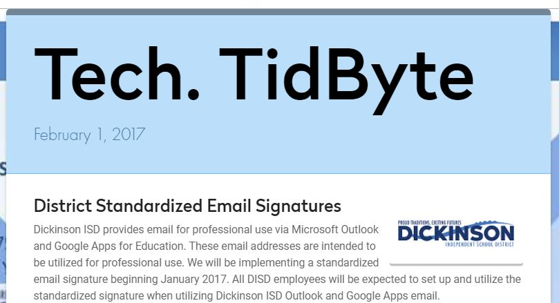 February 1, 2017 Tech Tidbyte e-newsletter