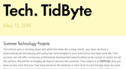 May 2019 Tech Tidbyte eNewsletter
